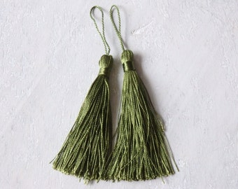 Olive green silky tassels - one pair of rich olive green tassels, tassels for malas, jewelry, accessories, olive green silky tassels - 2