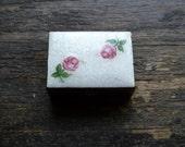 Pill Box, Trinket Box, Tiny Brass Box, Roses