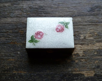 Pill Box, Trinket Box, Tiny Brass Box, Roses