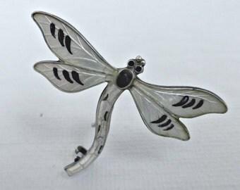 Vintage Edwardian Sterling Guilloche Enamel Dragonfly Brooch By JA&S John Atkin and Son