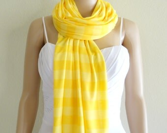 Yellow Striped Long Scarf. Wrap Scarf. Soft Cotton Spandex Scarf.