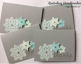 Stampin' Up! Winter/Christmas/Holiday Thank You Cards, Set of 4- Flurry of Wishes-Fabulous Four- Fabulous Snowflakes