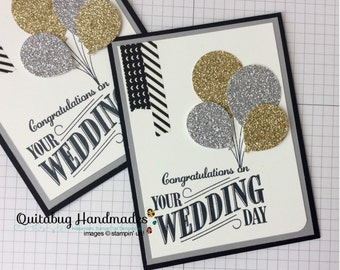 Stampin' Up! Wedding Card- Happy Notes- Gold & Silver Balloon Bouquet