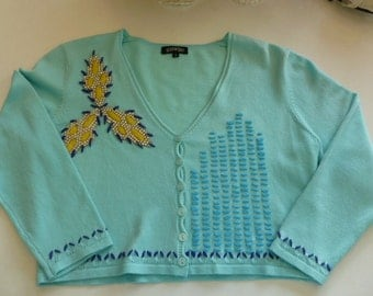 SALE Vintage Turquoise Tokyo Small Short Sweater with Rhinestones & 3/4 Sleeves Free USA Shipping