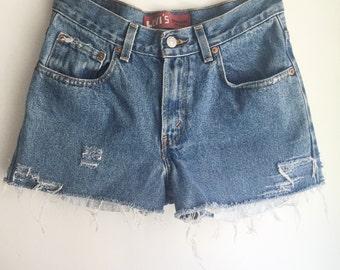 High Waisted Levi's Jean Shorts Cutoffs Size 26