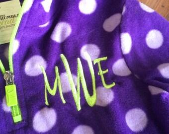 Purple polka dot little girl fleece pullover, personalized, monogrammed, quarter zip girls pullover