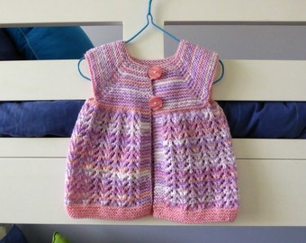 Hand knit cardigan vest, sleeveless pink and purple baby sweater, baby girl sweater 9 months, lacy baby cardigan