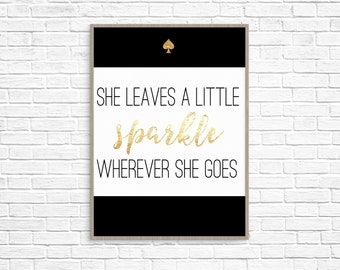 Kate Spade Inspired Black Sparkle Print Instant Download