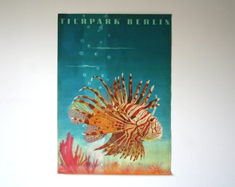 SALE 30% off! -  Original Berlin Zoo / Aquarium Advertising Poster- (GDR/East Germany/DDR) 1964 - Lion fish design (P115)