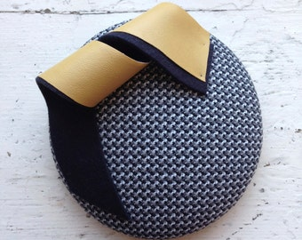 Grey and Yellow Wide Button Hat with Felt Twist