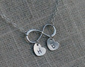 Infinity Necklace with Two Initials - Personalized Heart Initials - Solid 925 Sterling Silver Necklace - Infinity Eternity - Mom Sister Gift