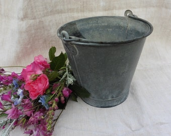 French Vintage , Vintage Zinc, French Zinc Pail, Small Old, Zinc Pail , Laundry Chore , Linens, Shabby French chic, French Country Living.