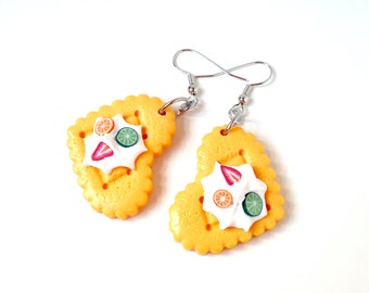 Cookie earrings, miniature food earrings, cookie jewelry, miniature food jewelry, whipped cream jewelry, harajuku girl, kawaii jewelry