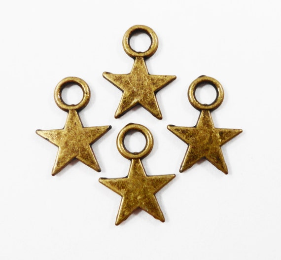 50pcs Bronze Star Charms 11x8mm Antique Brass Star Charms, Tiny Star Pendants, 5 Pointed Star Charms, Bulk Metal Charms, Wholesale Charms