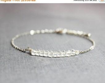 Valentines Day Gift Sale Rock Crystal Quartz and Silver Bracelet - Minimalist Jewelry - April Birthstone Bracelet