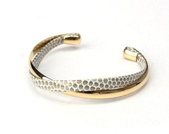 001 Braided Leather cuff Bracelet - Grey × Champagne Gold グレイ×シャンパンゴールド(柄あり)