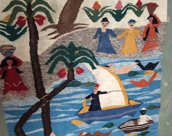 Colorful Vintage Wool Tapestry Rug/Wall Art