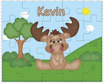 Moose Personalized Puzzle, Personalized Moose Puzzle, Personalized Kids Puzzle