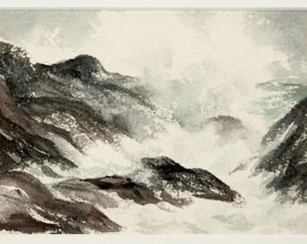 Ocean watercolor painting, original vintage painting, beach painting, ocean painting, water painting