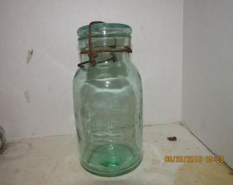 1890's Leotric Quart Fruit Canning Mason Jar Greenish Aqua 8 1/8 inch tall