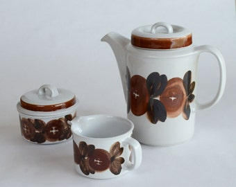 Arabia Rosmarin Coffee Pot with Creamer and Lidded Sugar Bowl / Coffee Set / Made in Finland