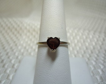Heart Cut Garnet Ring in Sterling Silver