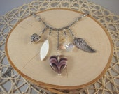 Gunmetal Charm Necklace- Hearts, Wing- One of a Kind!