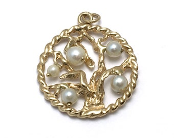 14K Tree of Life Pendant with Pearls - Solid Yellow Gold Round Charm - 3-D # 4226
