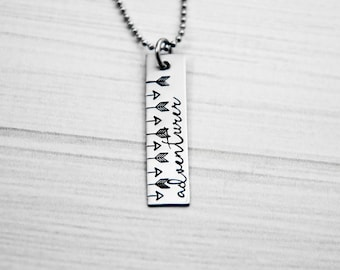 Adventurer - Hand Stamped Necklace - Arrow Necklace - Stainless Steel - Bohemian Jewelry