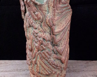 ChingWenArts Stoneware Handmade Vase Pot, Rust Green Brown, Signed,E037