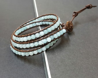 Blue Jade Brown  Leather Triple Wrap Bracelet/Anklet