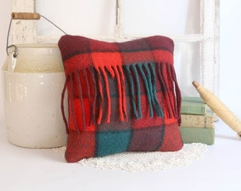 Vintage Wool Pillow, Red Plaid Throw Pillow, Rustic Cabin Decor, Red Wool Plaid Pillow 12x12