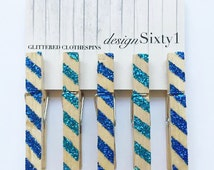 Glittered Striped Clothespins - Blue
