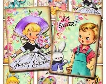 Easter Digital Download, Vintage Inspired Graphics, Instant Download, Set of 9 images on one digital collage sheet.