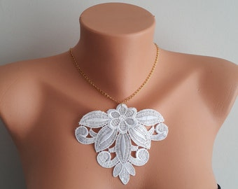 White Necklace/ Lace Necklace/ Silver/ Gold Necklace/ Arc Necklace/ AFlower Necklace/ Wedding Necklace/ Gift For Her