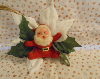 Vintage Flocked Santa On White Poinsettia