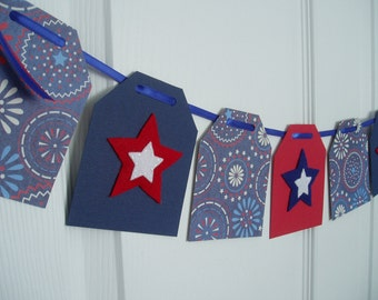 Fourth of July Banner, Paper and Felt Garland, Felt Summer Bunting, Picnic Banner, Memorial Day Banner, Red, White, Blue