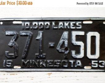ON SALE 1953, Minnesota, License Plate, Embossed, 10,000 Lakes, Car, Truck, Black, Auto, Supplies, Destash, Numbers, Letters, Steel, Vintage