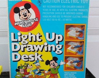 ON SALE Vintage Disney's Mickey Mouse Club Light Up Drawing Desk in Original Box Lakeside 5340, Walt Disney Productions, 1970's
