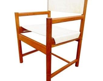 Vintage Michel Arnoult  Safari Chair Imbuia & Leather Chair Arm Chair