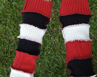 Harley Quinn Upcycled Sweater Armwarmers OOAK DC Cosplay Costume Fingerless Batman