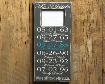 Important Date Sign - Family Name Sign with Photo Frame - 5th Anniversary Gift - Wood Anniversary Gift - Engagement Gift - Photo Frame