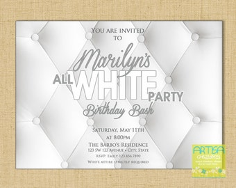 All White Party Invitation, White Party Invitation, Summer White Party Invite, ALl White Birthday Invitation, White Party, White Birthday