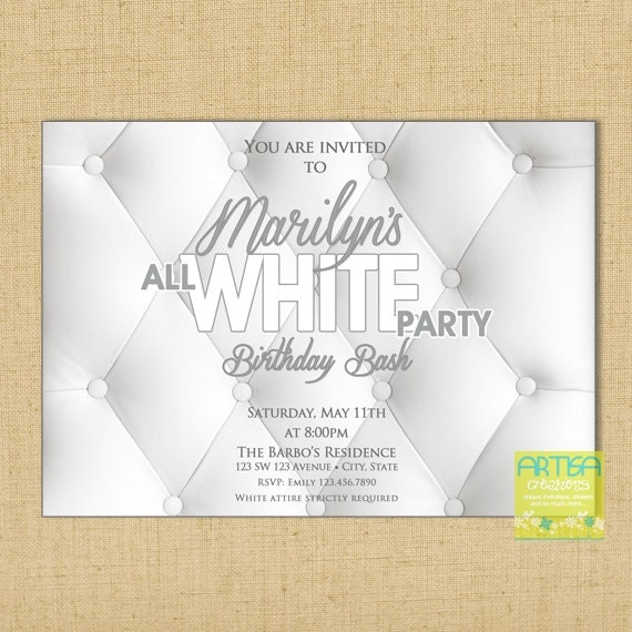 all white party invitation white party invitation summer, Party invitations