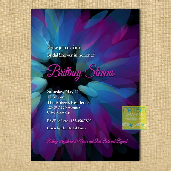 Purple Flower Bridal Shower Invitation : Blue and purple bridal shower invitation flower
