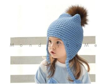 best quality Raccoon fur hat for kids