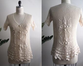 vintage 70s crochet cardigan blouse