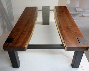 Modern coffee table live edge with inset glass