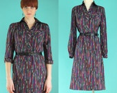 Vintage 70s Shirt Dress - Jewel Tone Striped Dress - Long Sleeve Dress - Secretary Dress - Silky Dress - Button Front Dress -  Size Medium