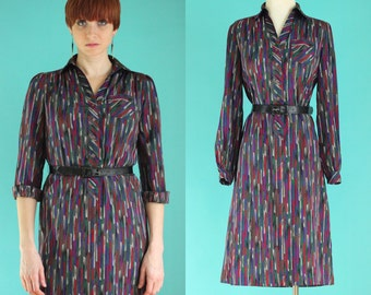 Vintage 70s Shirt Dress - Jewel Tone Striped Dress - Long Sleeve Dress - Secretary Dress - Silky Dress - Button Front Dress -  Size Medium